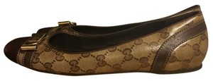 Gucci Ballet Monogram Round Toe Brown Flats