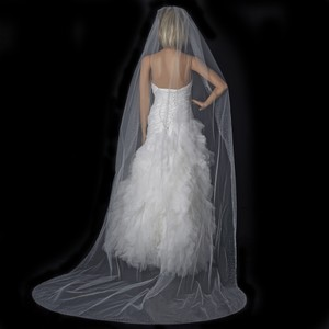 Elegance by Carbonneau White Long Swarovski Scattered Crystal Edge Cathedral V1371c Bridal Veil