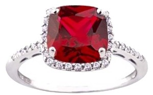 Other Pink Sapphire Halo Ring, Sterling Silver, Size 8