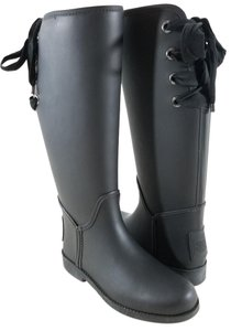 Coach Ribbons Lace Up Rubber Rainboot Leather Trim Equestrian-inspired Black Boots
