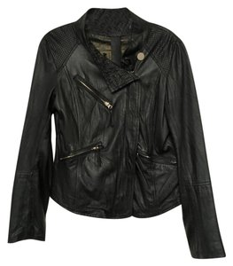Other Biker Mesh Black, Gold Leather Jacket