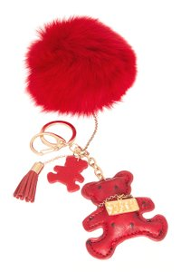 Sugar NY Fur and Leather pom pom key chain with Teddy bear