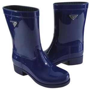 Prada Rubber Upper Made In Italy Blue Boots