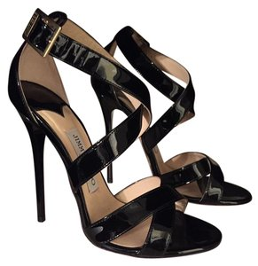 Jimmy Choo Patent Leather Heels Black Sandals