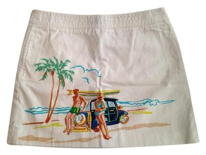 J.Crew Preppy Print Mini Skirt SURF BEACH SCENE PRINTED