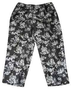 Allison Taylor Capri/Cropped Pants 100% Silk / Black / White