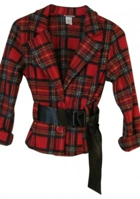Preload https://img-static.tradesy.com/item/19977/tres-bien-red-plaid-women-s-juniors-2-button-belted-jacket-top-by-blazer-size-petite-12-l-0-0-650-650.jpg