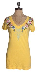 Johnny Was Embroidered T Shirt YELLOW