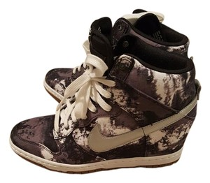 Nike Sneakers Wedge Leather Dunks Graffiti Gray Athletic