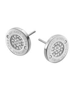 Michael Kors New Michael Kors Round Silver Pave Stud Earrings with Dust Cover