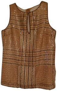 Tory Burch Houndstooth Sequins Brown Top Tan