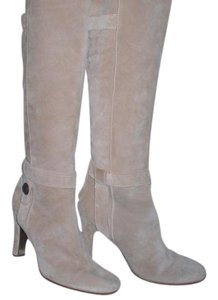 Juicy Couture Leather Gold Hardware taupe Boots