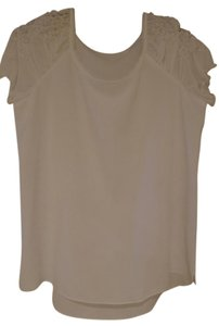 T Tahari Rouched Top White