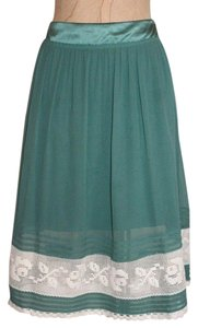 Tufi Duek Silk Lace Accent Skirt GREEN
