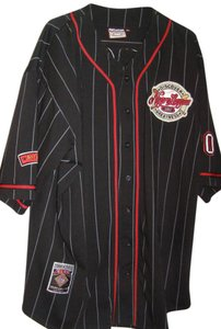 NLBM Negro League Baseball 3 X L Mens Button Down Shirt Black with Red Stripes