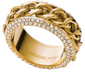Michael Kors New Michael Kors Frozen Curb Gold Chain Pave Ring Sz 7