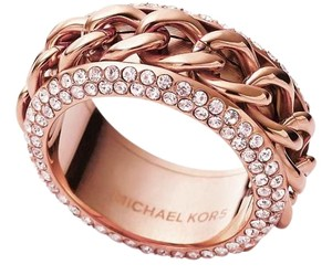 Michael Kors New Michael Kors Frozen Curb Rose Gold Chain Pave Ring Sz 7
