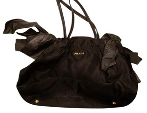 Prada Leather Bow Black Clutch