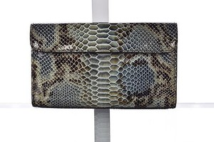 Donald J. Pliner Donald J Pliner Womens Blue Clutch Animal Print Wallet Purse