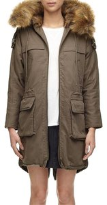 Whistles Faux Fur Hooded Military-inspired Long Military Jacket