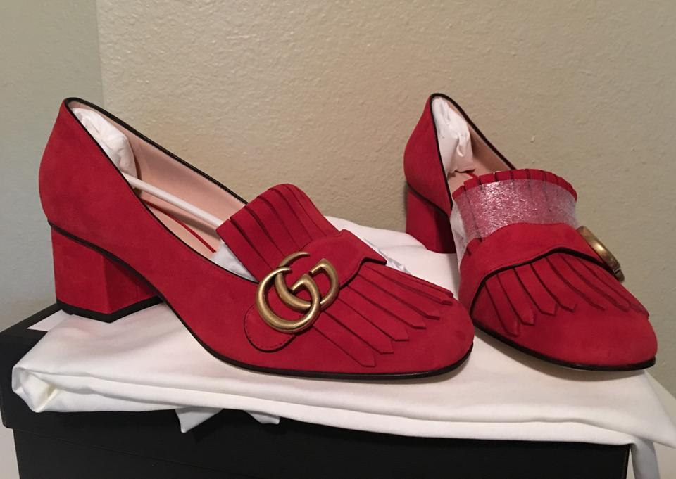 7455ddec6d1e37 Gucci Red Marmont Gg 38.5 Vulcanic Suede Mid Heel Loafers Pumps Size ...