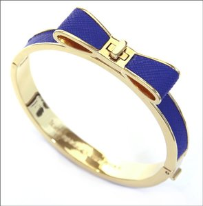 Kate Spade New Kate Spade Perfectly Placed Blue Leather Over Gold Hinged Bracelet