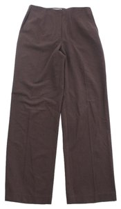 Talbots Polyester Blend Stretch Straight Pants Brown