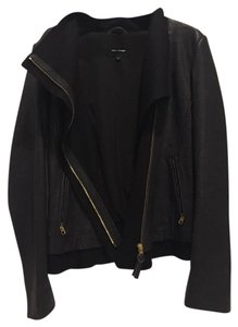 Mackage Lambskin Gold Leather Dark Blue Leather Jacket