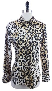 Jones New York Sport Leopard Print Button Down Shirt Brown