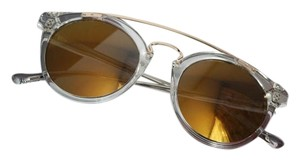 Linea Roma NEW Linea Roma Clear Gold Mirrored Wired Round Sunglasses