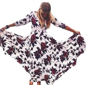 Ivory, Red, Blue Maxi Dress by Free People Bohemian Fairy Tale Floral