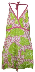 Lilly Pulitzer short dress Pink, White, Green 2 New Halter on Tradesy