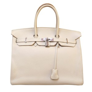 Herms Calfskin Cream 35 Birkin Tote in parchemin