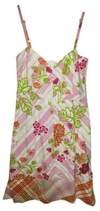 Oilily short dress Pink, White, Brown & Green Vneck 6 Plaid on Tradesy