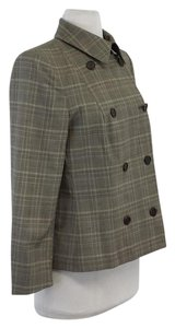 Max Mara Plaid Wool Doulbe Breasted Grey & Tan Jacket