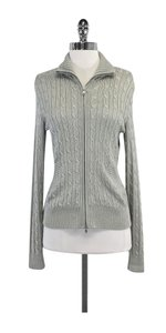 Ralph Lauren Silver Metallic Cable Knit Zip Jacket