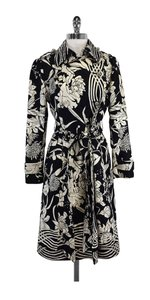 Tracy Reese Black White Floral Silk Coat