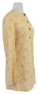 Tory Burch Yellow White Cotton Print Tunic