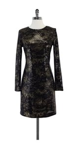 ADAM short dress Black & Gold Sequined Long Sleeve on Tradesy