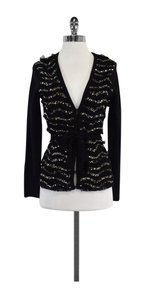 MILLY Black Silver Gold Sequined Cardigan