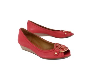 Tory Burch Strawberry Red Grainy Leather Wedges
