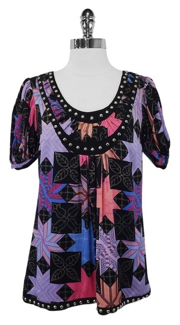 Preload https://item2.tradesy.com/images/plenty-by-tracy-reese-black-and-multi-color-print-w-stud-detail-s-blouse-size-4-s-1997846-0-0.jpg?width=400&height=650