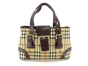 Burberry Tote Classic Satchel in Beige x Brown