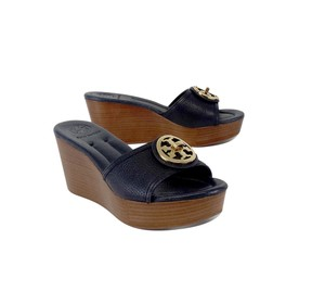 Tory Burch Navy Brown Leather Wedges
