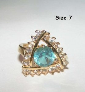 Yellow Gold Bogo Free Blue White Topaz Free Shipping Ring