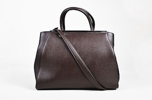 Fendi Coffee Noir Leather Palladium Toned Hardware 2 Jours Tote in Brown