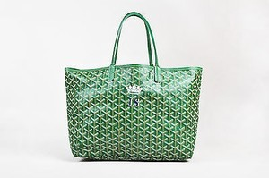 Goyard White Canvas Louis Pm Crown Tote in Green