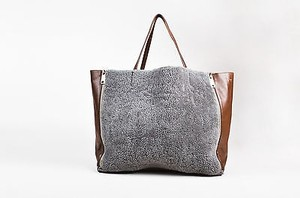 Céline Brown Leather Shearling Horizontal Cabas Tote in Gray