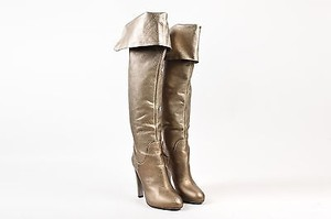 Sergio Rossi Metallic Leather Over The Knee Heeled Gold Boots