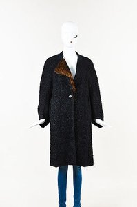 Dries van Noten Brown Textured Wool Rabbit Fur Accent Coat